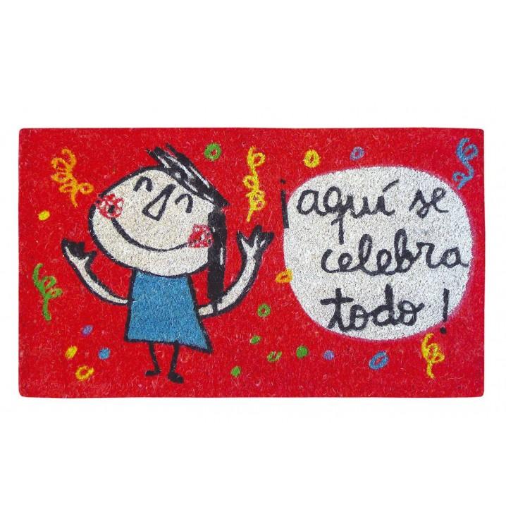 Felpudo Aquí se celebra todo rojo Anna Llenas