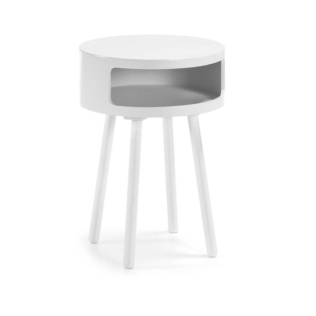 mesa redonda revistero auxiliar blanca