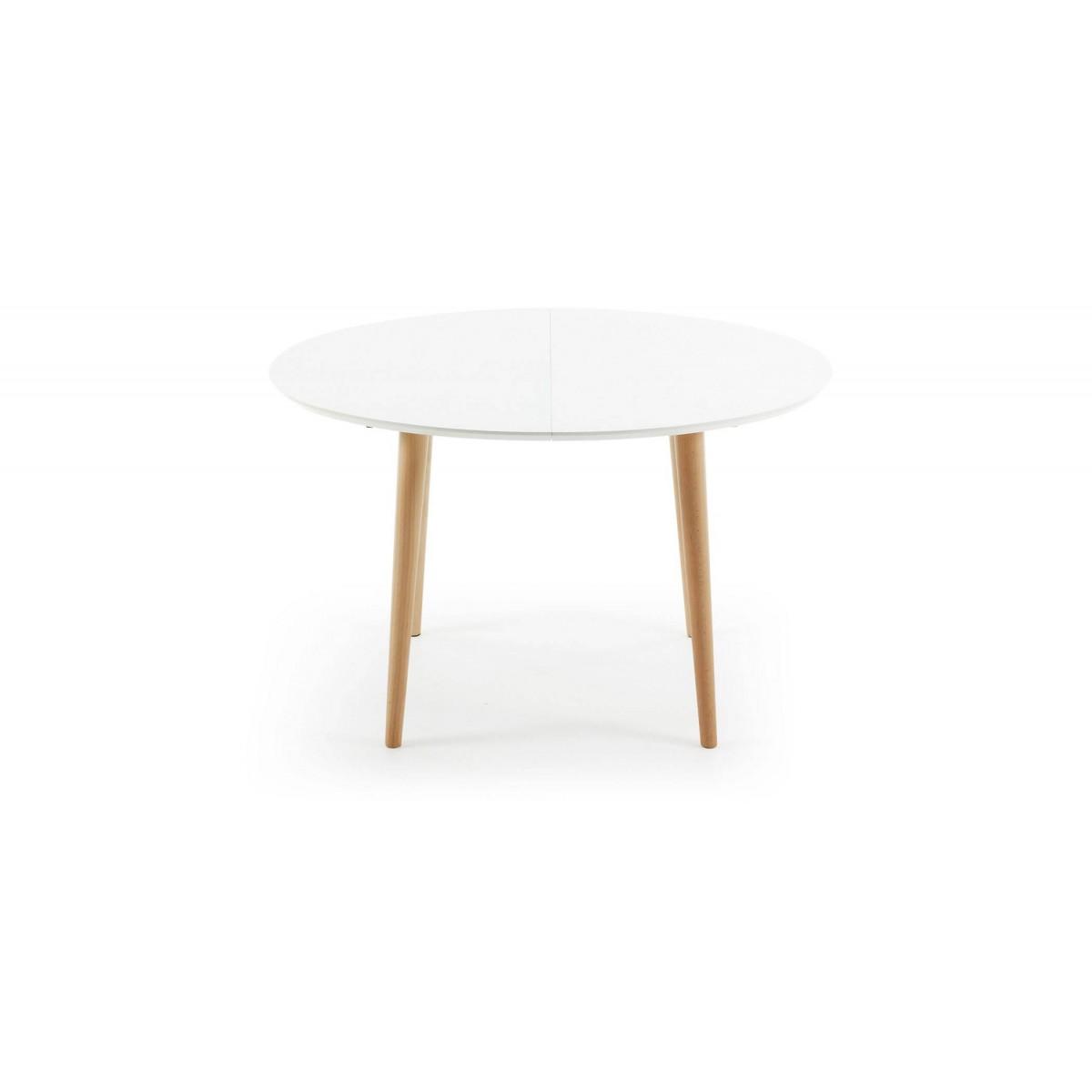 Mesa extensible madera lacada blanca scandy for Mesa redonda extensible blanca