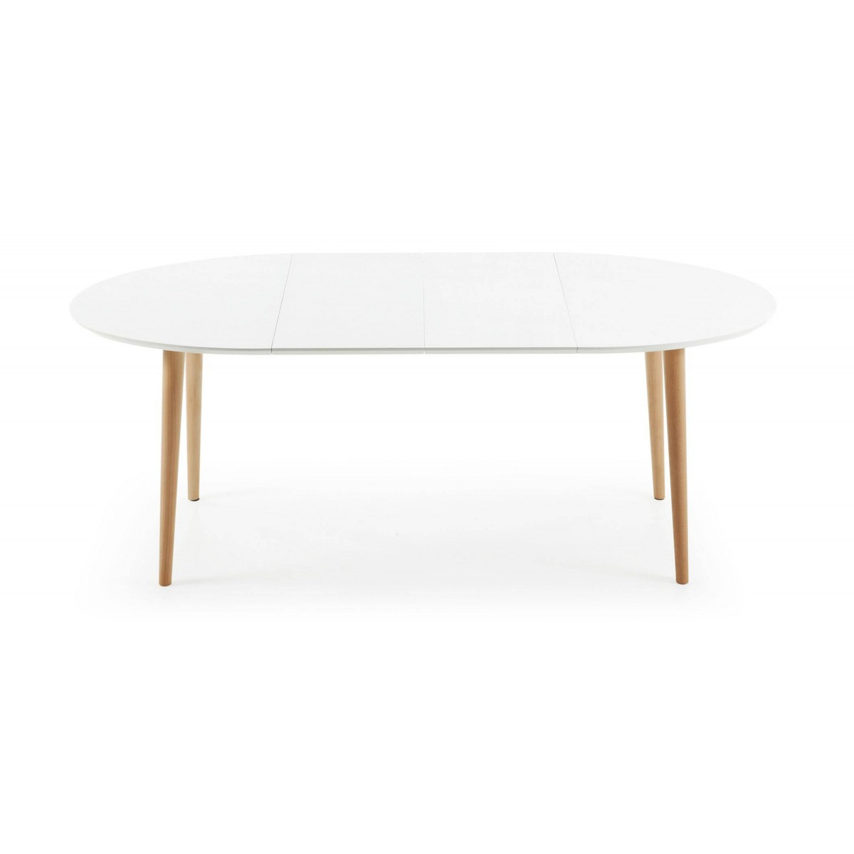 Mesa extensible madera lacada blanca scandy for Mesa extensible