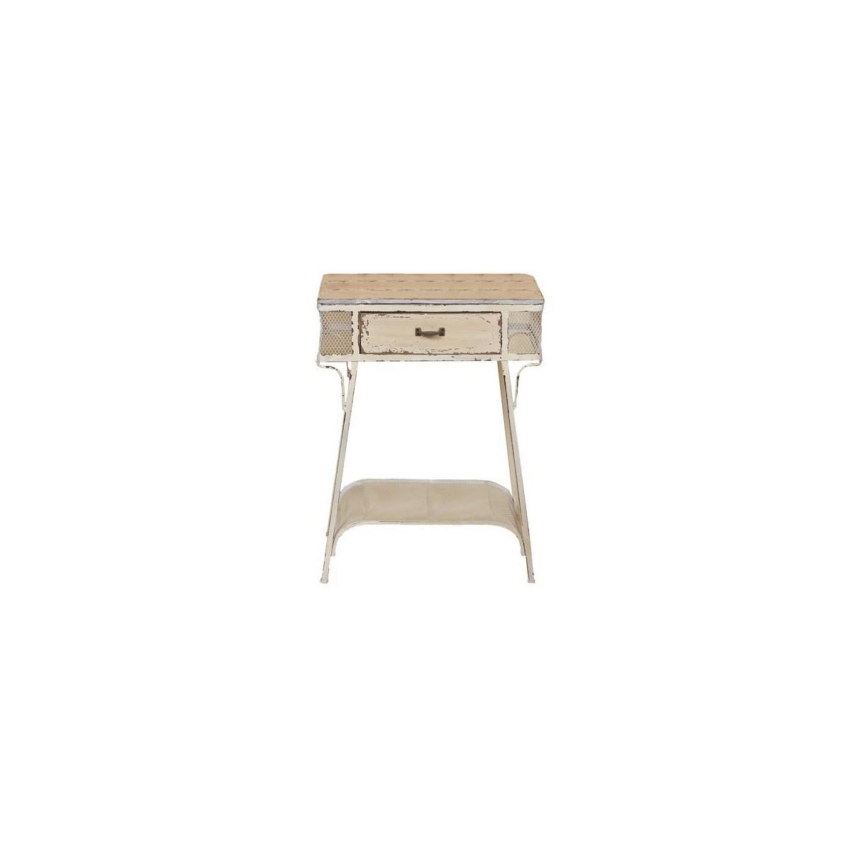 Mesa auxiliar vintage blanco roto metal madera for Mesa vintage madera