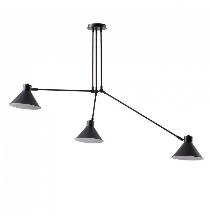 Lámpara de Techo Metal Negro 3 Brazos Estilo Industrial