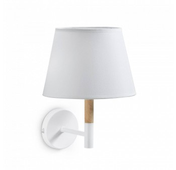 Lámpara Aplique Madera Algodón Blanco con Brazo Exótica