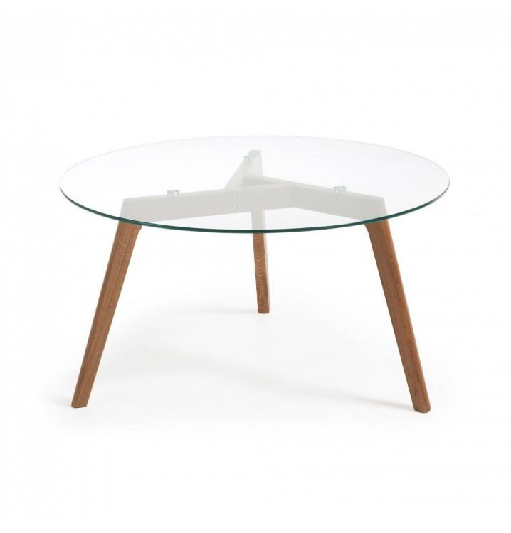 Mesa de Centro Redonda Roble Americano Cristal Nordic Style