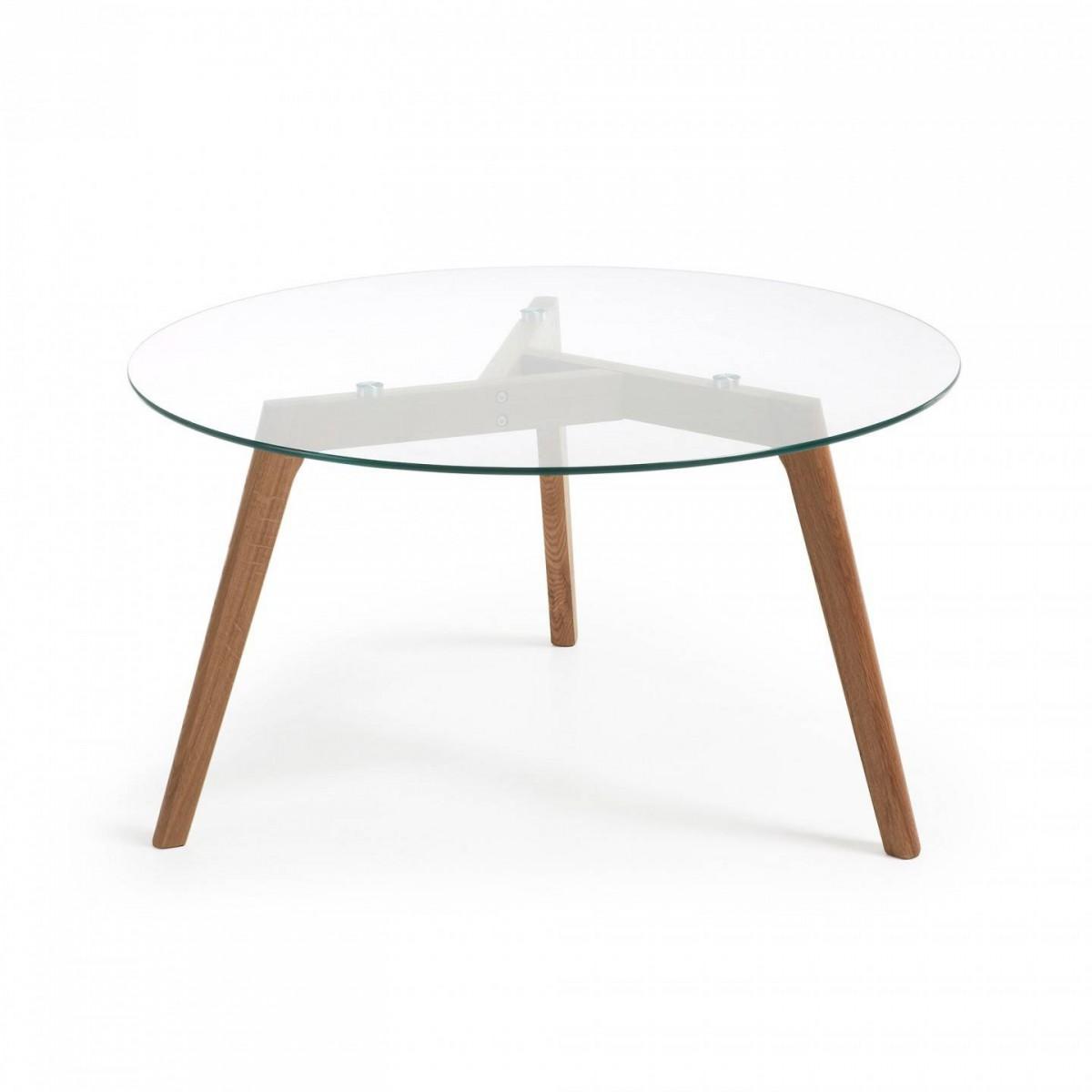 Mesa de centro redonda roble americano cristal nordic style - Mesa centro redonda ...
