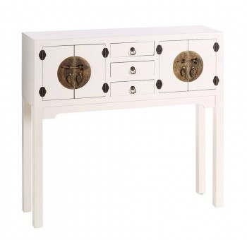 Consola Japo blanco 4 puertas 3 cajones madera colores del mundo