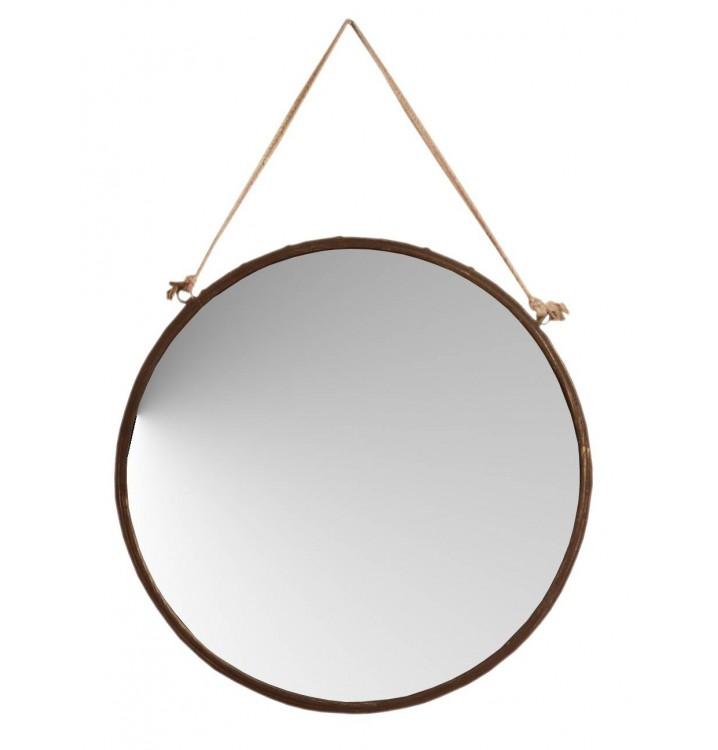 Espejo pared grande redondo metal xido cuerda grande for Espejo redondo grande