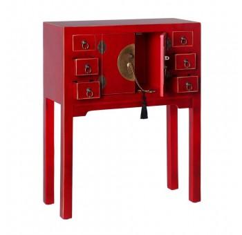 Consola Japo rojo 2 puertas 6 cajones madera colores del mundo