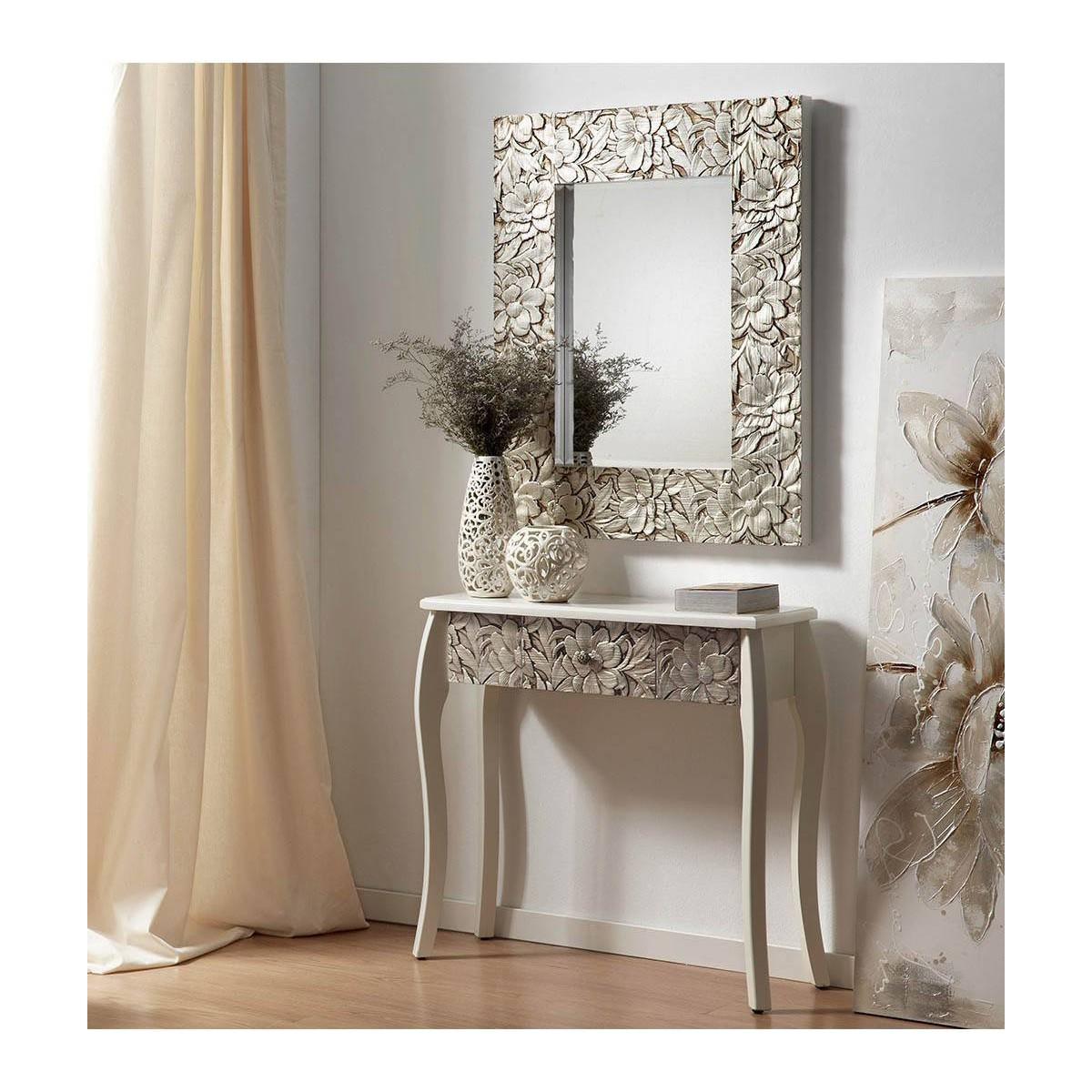 Espejo grande madera tallada plata for Espejo grande pared precio