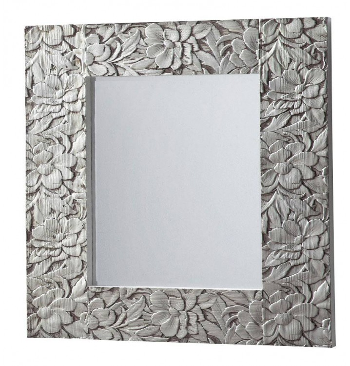 Espejo peque o madera tallada plata for Espejo plateado grande