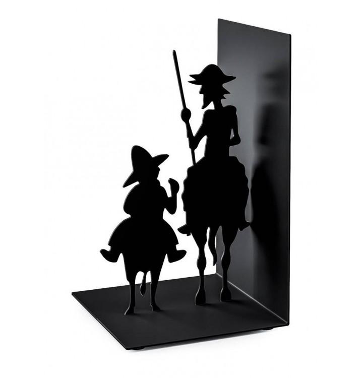 Sujeta libros Don Quijote y Sancho metal