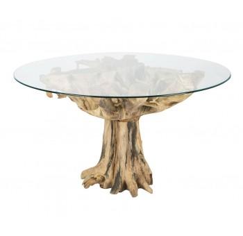 Mesa redonda Raíz natural madera teka y cristal