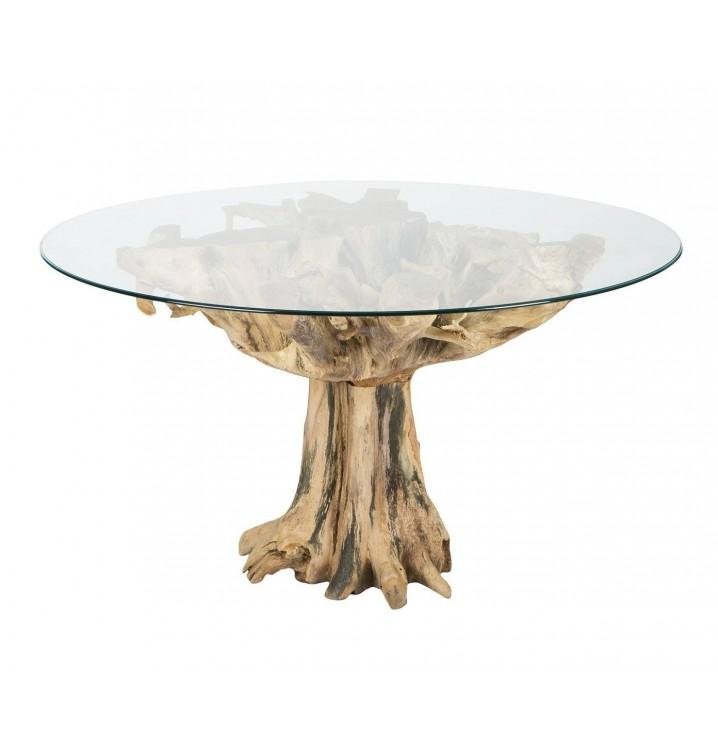 mesa redonda raz natural madera teka y cristal - Mesa Redonda Madera