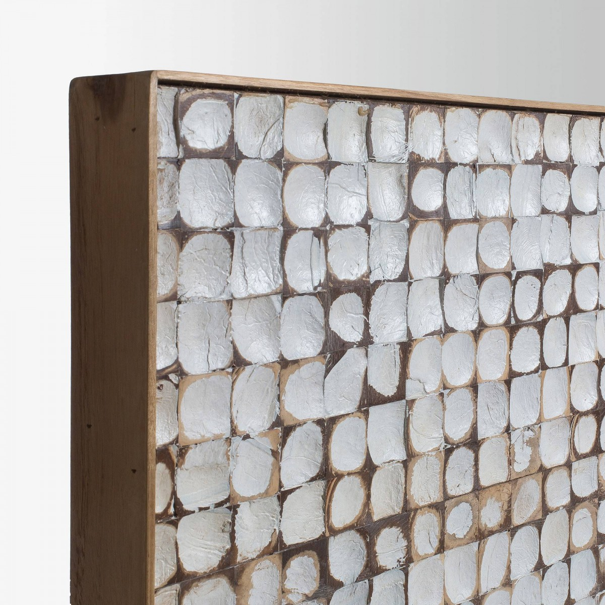 Cabecero 174cm madera revestido con mosaico de coco tropical - Mosaico de madera ...