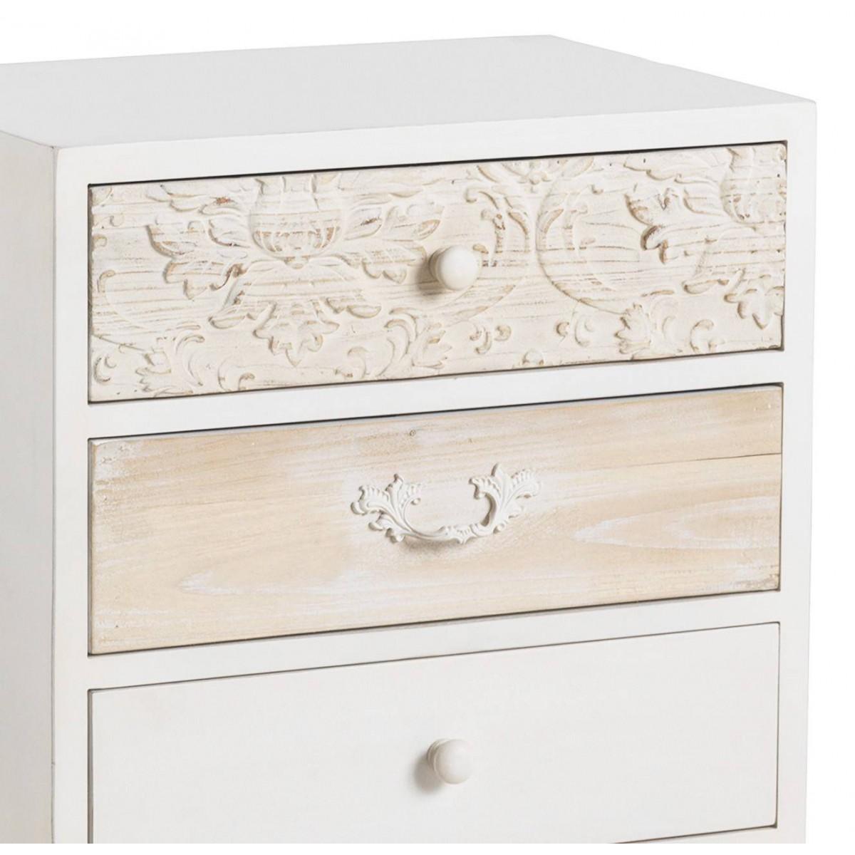 Mesita de noche mogens blanca madera tallada - Perchas de madera blancas ...