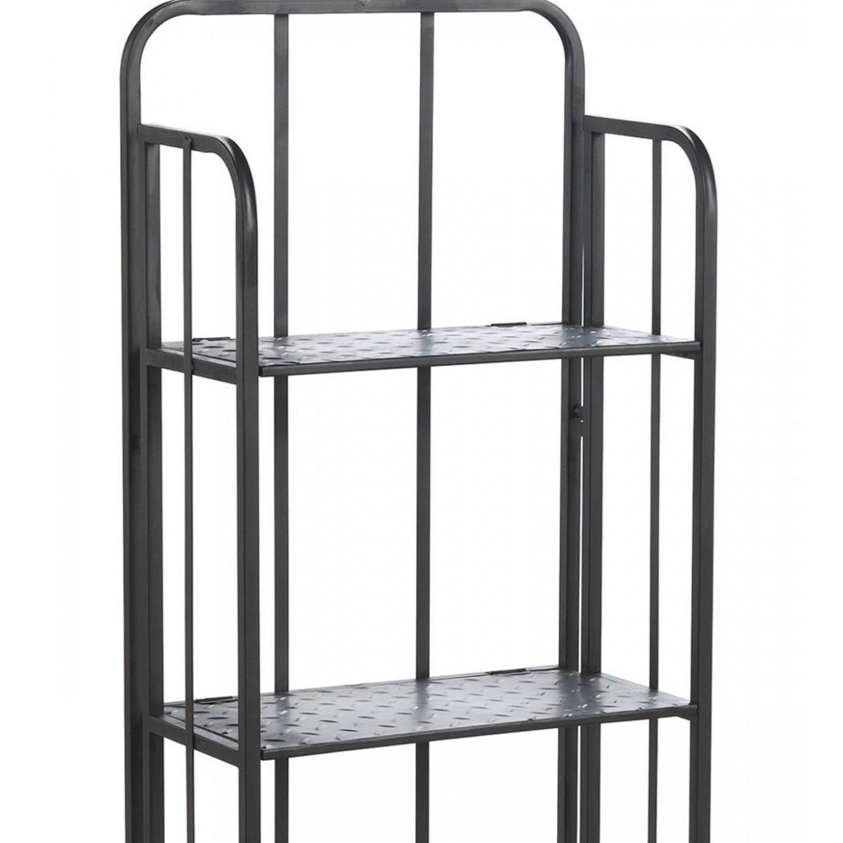 Estanter a 4 baldas metal gris oscuro industrial for Mueble gris oscuro