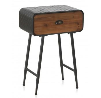 Mesilla de noche 1 cajón madera metal estilo industrial