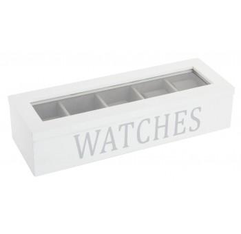 Caja relojero 5 relojes madera blanca tapa cristal