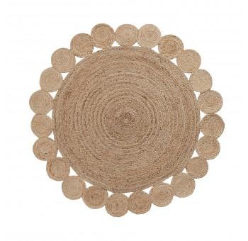 Alfombra redonda F150 círculos yute natural nórdico