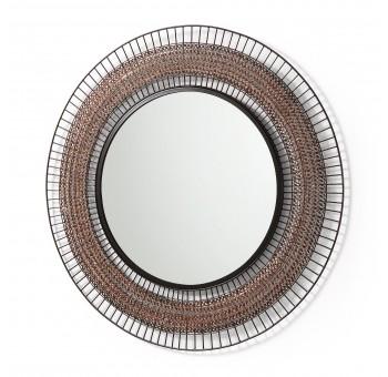 Espejo redondo F90 varillas de metal cobre envejecido negro casual
