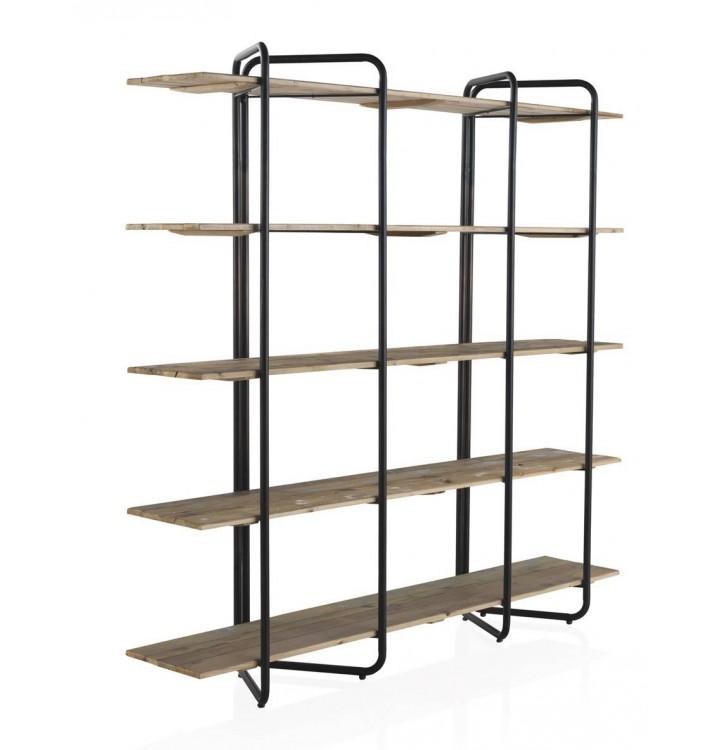 Estantería Screw 5 baldas madera y metal negro industrial