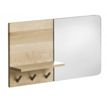 Espejo entrada perchero pared y repisa madera abedul natural