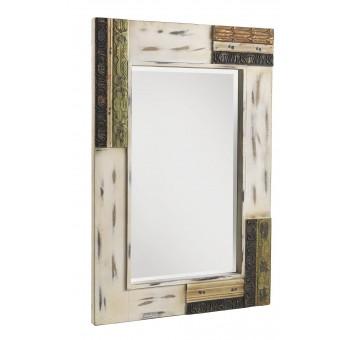 Espejo pared Giulia blanco roto envejecido multicolor