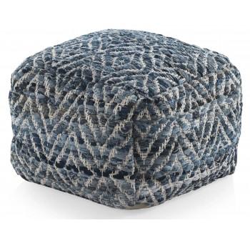 Puf algodón y yute azul