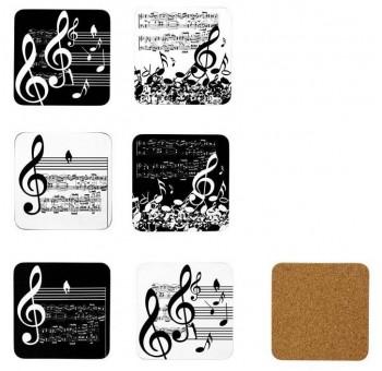 Juego 6 posavasos diseño claves musicales