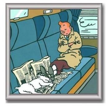 Cuadro enmarcado Tintín durmiendo tren