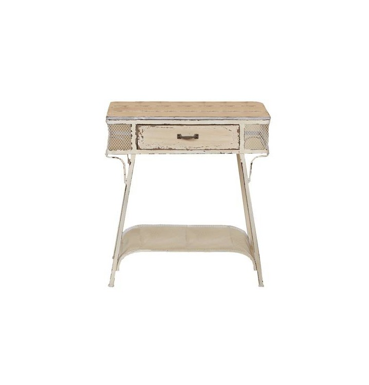 Mesa auxiliar vintage blanco roto metal madera