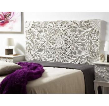 Cabecero de cama madera blanca tallada