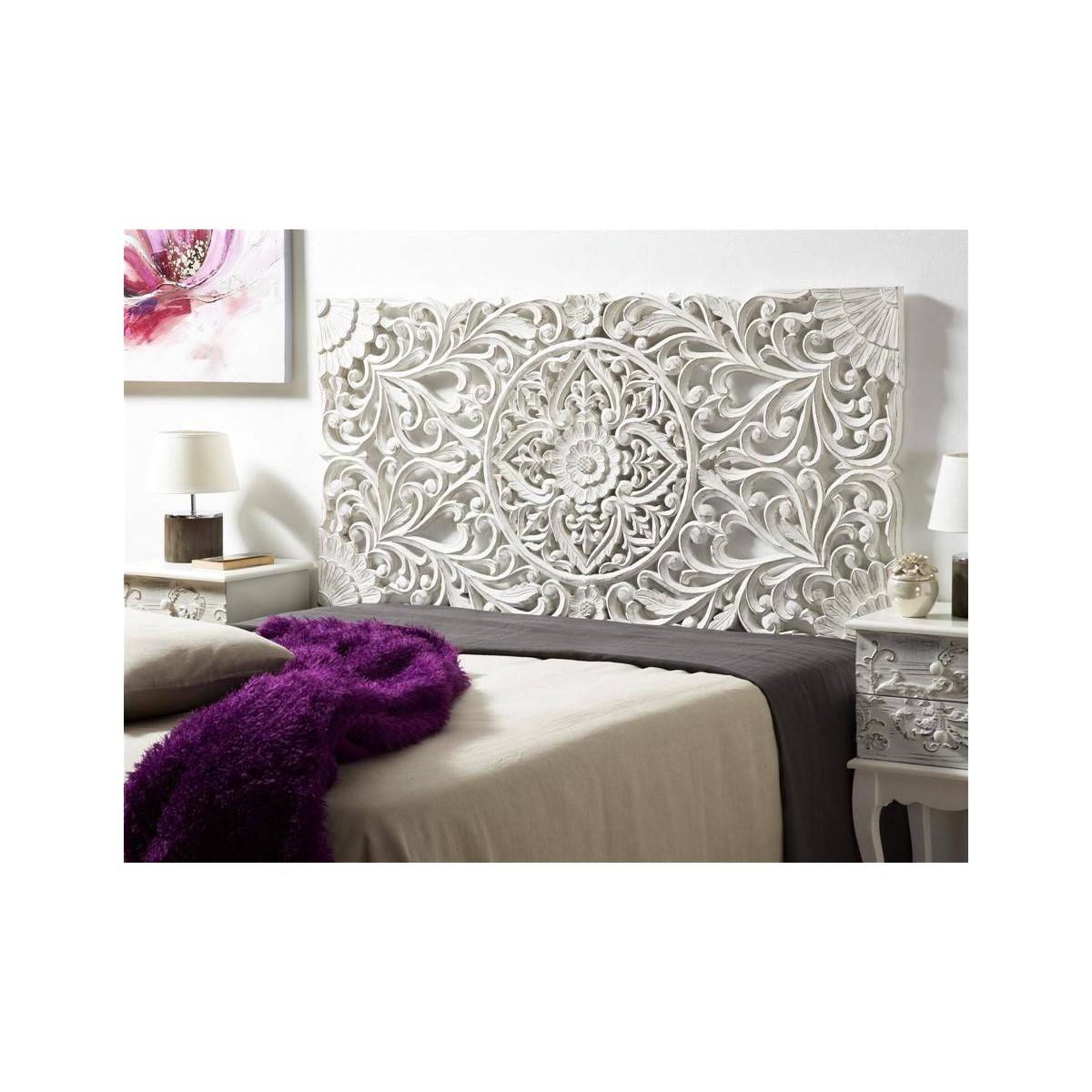 Cabecero de cama madera blanca tallada - Diseno de cabeceros de cama ...