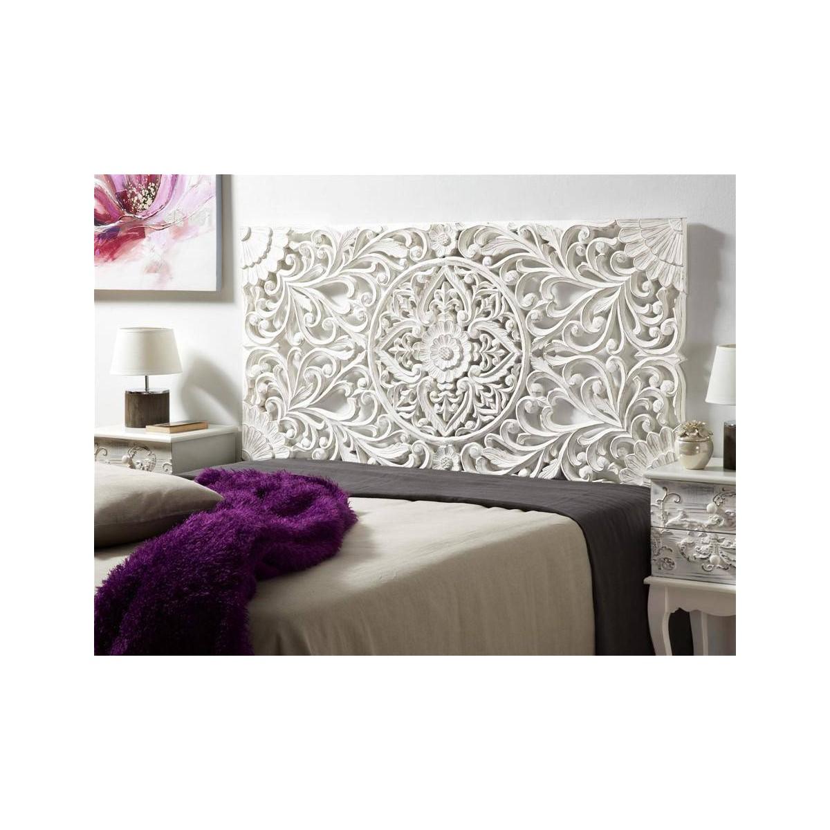 Cabecero de cama madera blanca tallada - Cabeceros de madera blanco ...