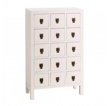 Mueble auxiliar Japo blanco 15 cajones madera colores del mundo