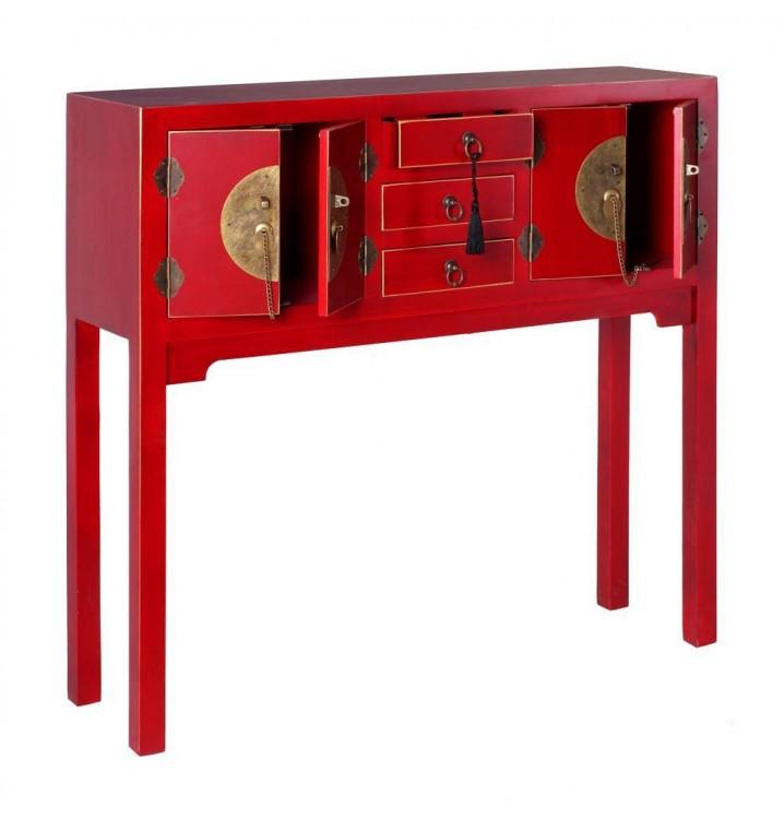 Consola Japo rojo 4 puertas 3 cajones madera colores del mundo