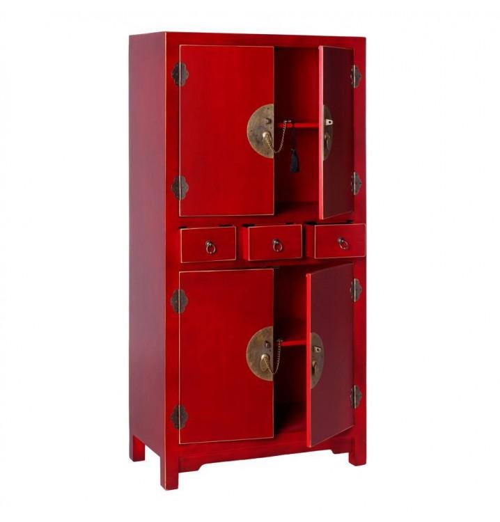Mueble auxiliar Japo rojo 4 puertas 3 cajones madera colores del mundo