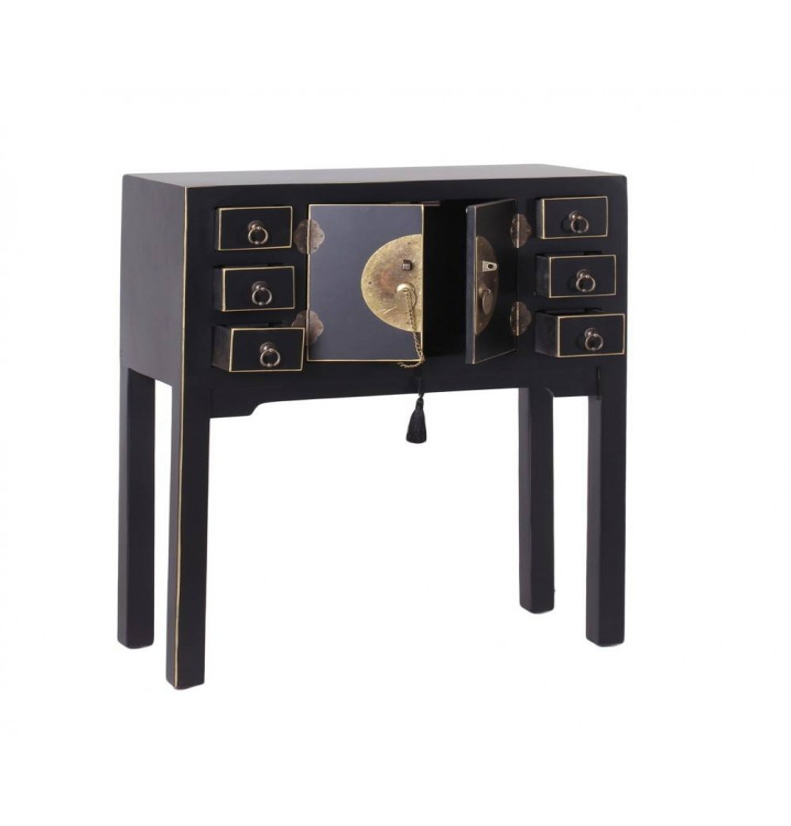 Consola Japo negro 2 puertas 6 cajones madera colores del mundo