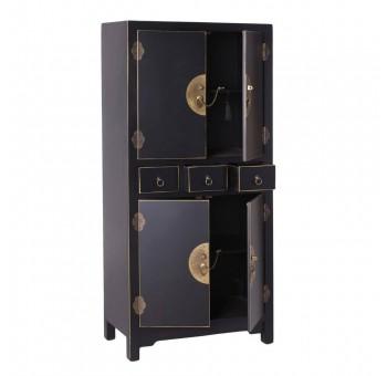 Mueble Japo negro 4 puertas 3 cajones madera colores del mundo