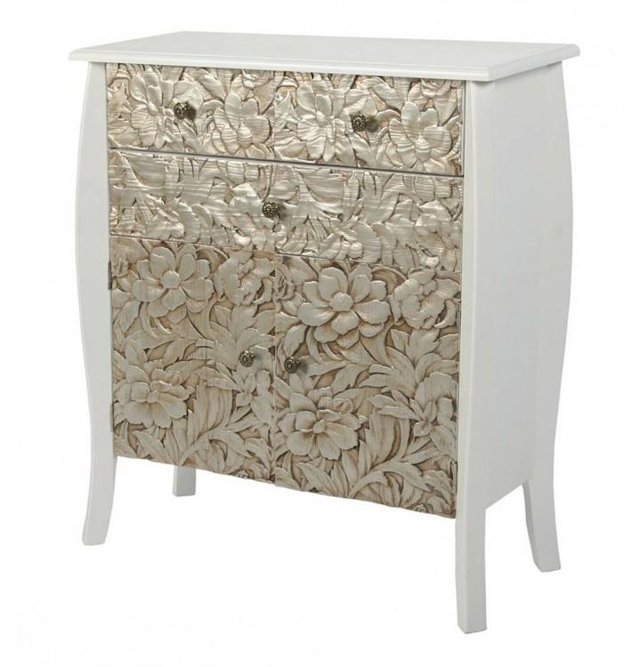 Mueble cómoda 3 cajones 2 puertas madera tallada plata