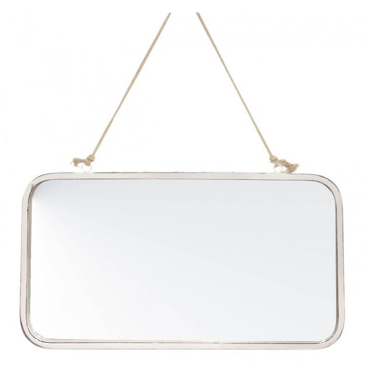 Espejo pared rectangular metal blanco cuerda