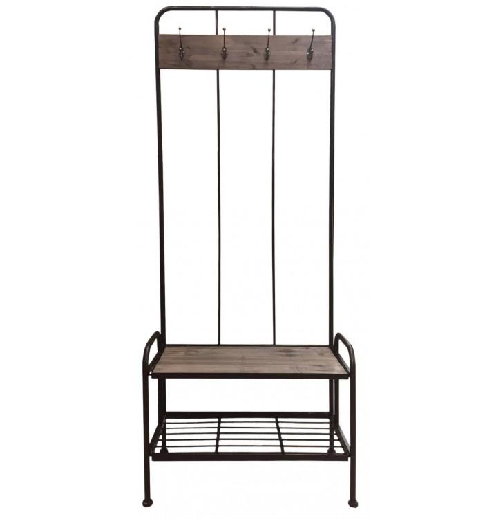 Mueble entrada perchero metal con estantes industrial
