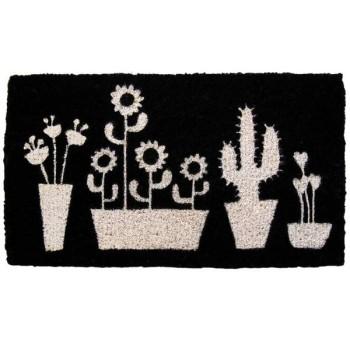 Felpudo negro Cactus blanco