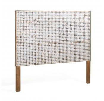 Cabecero 174cm madera revestido con mosaico de coco tropical