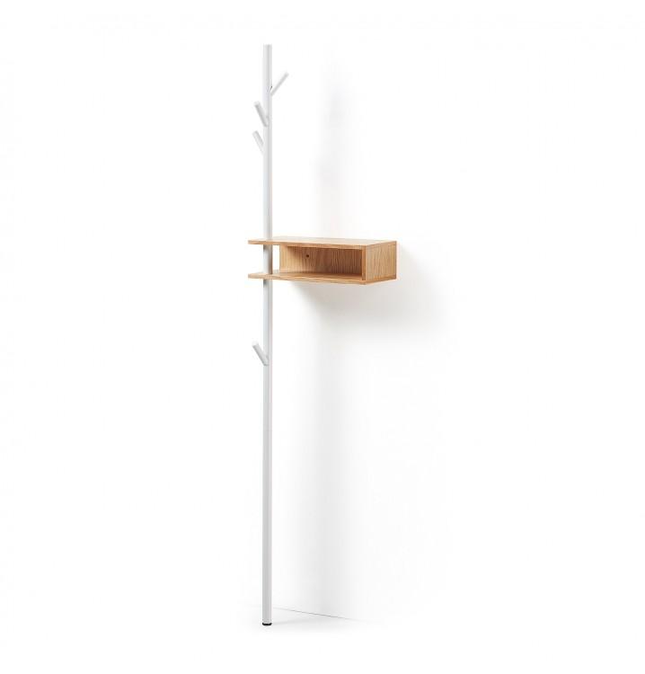 Perchero estantería Skutwig 175 metal blanco madera roble nórdico