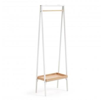 Perchero estantería Skutwig 160 metal blanco madera roble nórdico