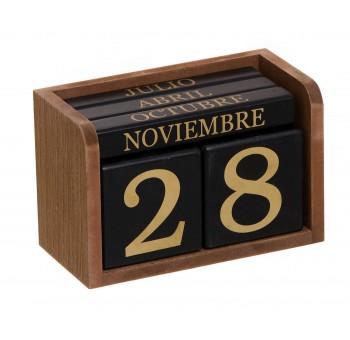 Calendario cubos madera marrón y negro sobremesa