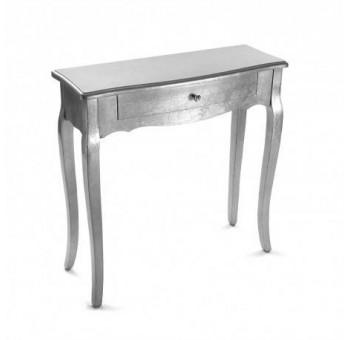 Consola Marsala 1 cajón madera plateado luxury