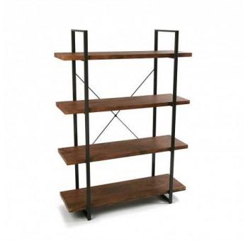 Estantería Herman 4 baldas madera natural metal industrial