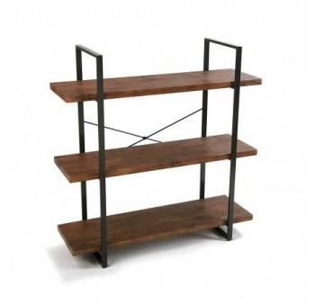 Estantería Herman 3 baldas madera natural metal industrial